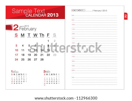 Business notebook with calendar for February 2013