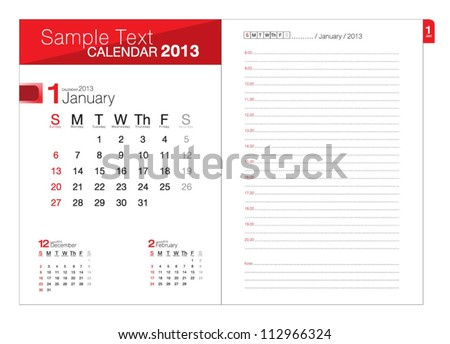 Business notebook with calendar for January 2013