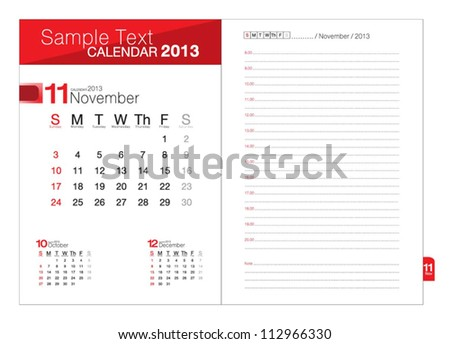 Business notebook with calendar for November 2013