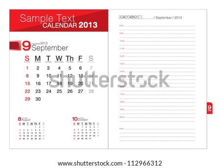 Business notebook with calendar for September 2013