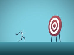 Business objective and strategy vector concept. Businesswoman throwing dart at target. Symbol of business goals, aims, mission, opportunity and challenge. Eps10 vector illustration.