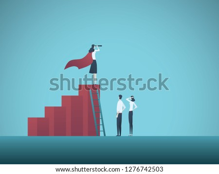 Business objective, goal or target vector concept. Team of business people working together. Symbol of growth, teamwork, challenge. Eps10 vector illustration.