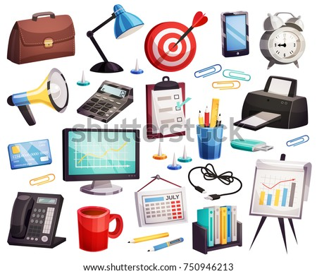 Business office accessories attributes symbols big icons collection with planner target clock briefcase  telephone isolated vector illustration