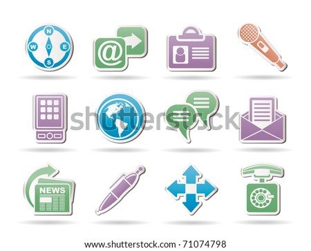 Business, office and internet objects and signs - vector illustration