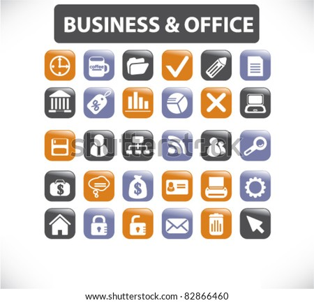 business & office  buttons, icons, signs, vector illustrations - stock vector