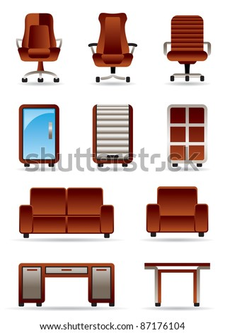 Business office furniture icon set - vector illustration