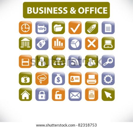business office glossy square buttons, icons, signs, vector illustrations