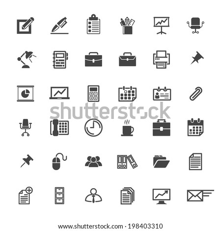 Business Office Icon Set Vector Graphic