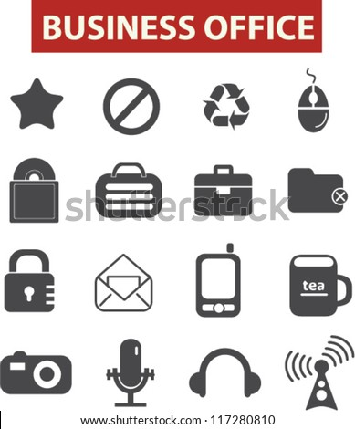 business & office icons set, vector