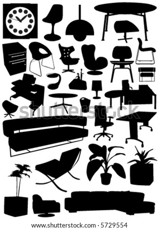 Business-Office Interior Design Objects Stock Vector 5729554