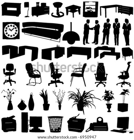 business-office interior design objects - stock vector