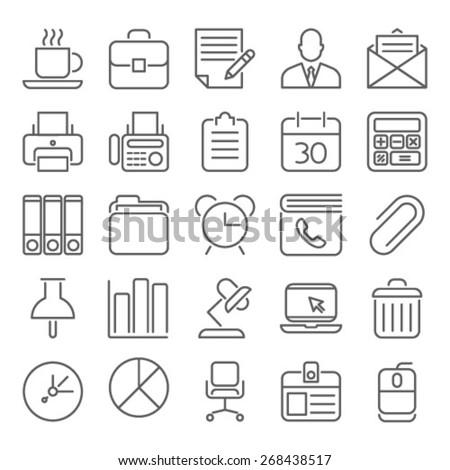 Business Office  organization line Icon Set