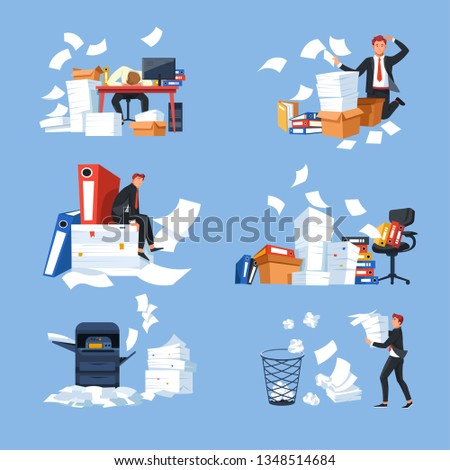 Business office paperwork documents and paper blanks businessman and workload vector stress and overworking desk and chair folder and printer stress tiredness and exhaustion computer and rubbish bin