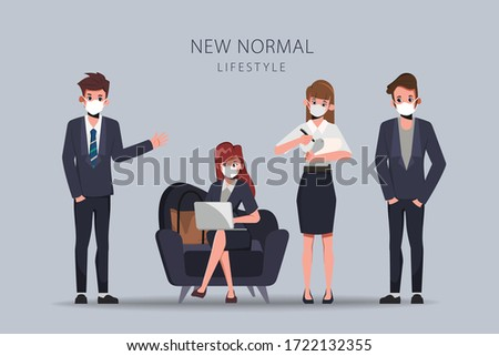 Business office people maintain social distancing. Stop covid-19 coronavirus. New normal lifestyle in job.
