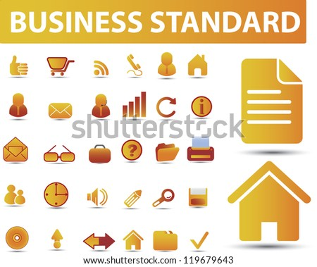 business, office, signs, icons set, vector