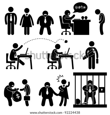 Business Office Workplace Situation Boss Manager Icon Symbol Sign Pictogram Concept - stock vector