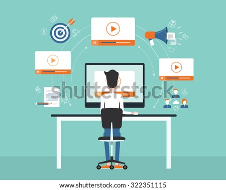 business on line video marketing content concept.flat vector. background