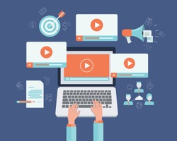 business on line video marketing content  concept.flat vector. background.marketing on line