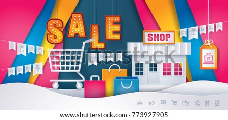 Business Online Shop, Store and Shopping Cart with Shopping icons set on Flag, Sale tag and banner on Colorful Abstract Background, Paper art vector and illustration.
