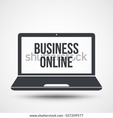 business online text on laptop