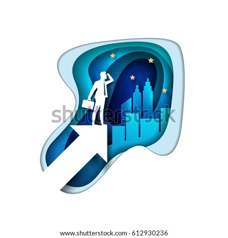 Business opportunities concept illustration. Businessman is searching the sky with telescope. Paper art style vector illustration. Elements are layered separately in vector file.