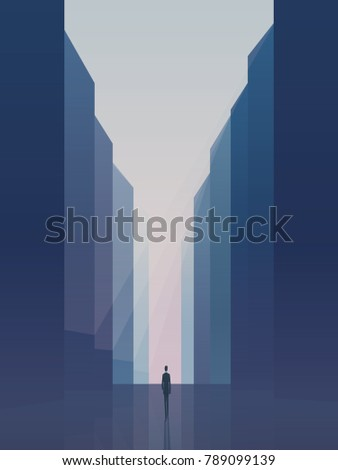 Business opportunity and career ambition, success vector concept with businessman standing on a street between corporate buildings, skyscrapers. Eps10 vector illustration.