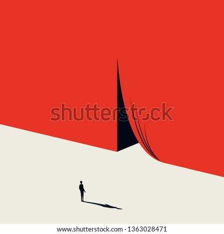 Business opportunity and challenge vector concept with businessman and curtains opening. Minimalist artistic style. Symbol of achievement, motivation, success, new job, beginning. Eps10 illustration.