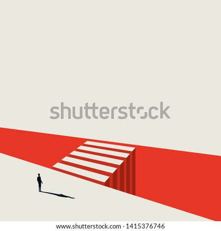 Business opportunity and decision vector concept with businessman standing next to crossing. Symbol of objective, goal, targets, challenge. Eps10 illustration.