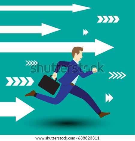 Business Opportunity Concept Designed As A Businessman Is Running Forward In High Speed Along With White Arrows. He Is Straight To New Opportunity With Full Motivation, Attempt, And Encouragement.