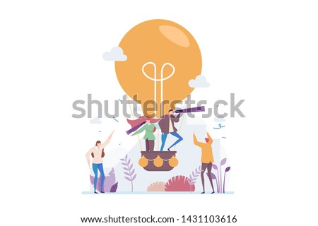 Business Opportunity Discovery Vector Illustration Concept With Peoples Riding On A Light Bulb Air Balloon, Suitable for landing page, ui, web, app intro card, editorial, flyer, and banner.
