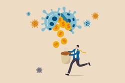 Business opportunity or bargain stock investment in Coronavirus COVID-19 crisis or economic recession concept, investor or business owner holding basket to get gold coin money from virus pathogen.