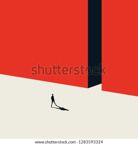 Business opportunity vector concept in minimalist art style. Businessman walking into gate. Symbol of new beginning, change, new career, finding solution. Eps10 vector illustration.