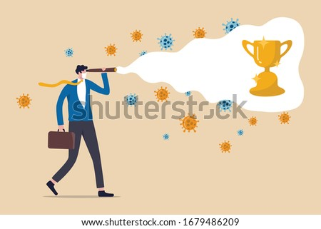 Business opportunity vision and leadership in COVID-19 Coronavirus crisis concept, Confident businessman holding telescope visioning the champion winning cup among virus pathogens.