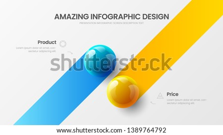 Business 2 option infographic presentation vector 3D colorful balls illustration. Corporate marketing analytics data report design layout. Company statistics information graphic visualization template