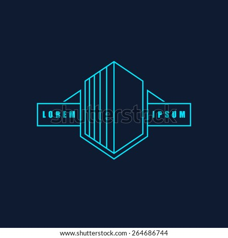 Business or building icon logo template. Isolated on black background. Vector illustration, eps 8.