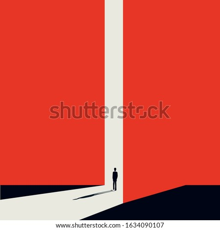 Business or career opportunity vector concept with businessman in gate. Symbol of new job, success, ambition and motivation. Planning and strategy concept.