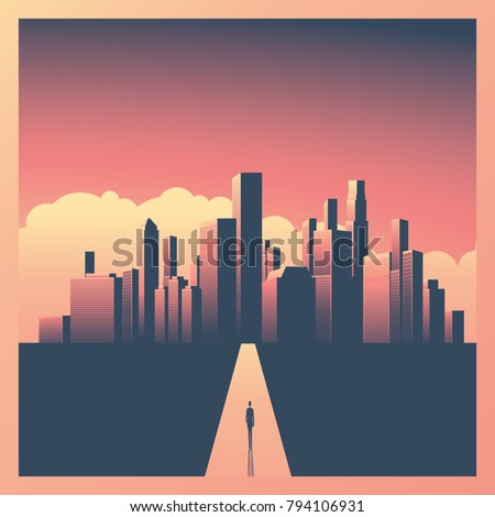 Business or career opportunity vector concept with businessman walking towards big city. Symbol of success, vision, future, perspective. Eps10 vector illustration.