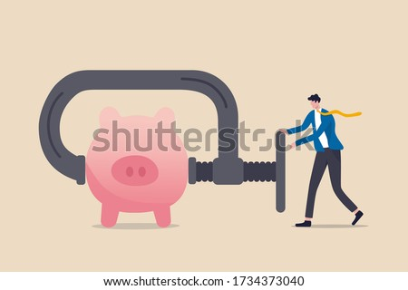 Business or company cut budget or squeeze and reduce spending due to business or economic crisis in COVID-19 Coronavirus recession concept, businessman using clamp to squeeze saving pink piggy bank Stockfoto ©