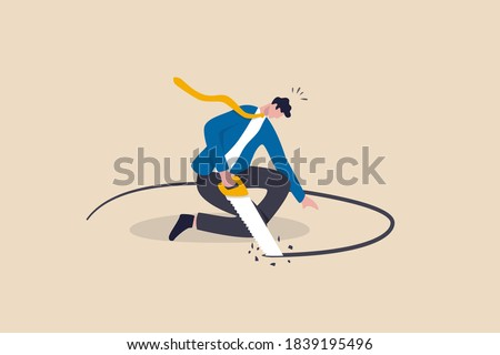 Business or financial mistake, wrong decision or stupidity make problem and situation worst concept, foolish frustrated businessman sawing the floor to self sabotage or make himself fall with failure. Сток-фото ©