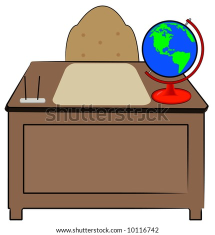 business or teachers desk with globe of world sitting on it - vector