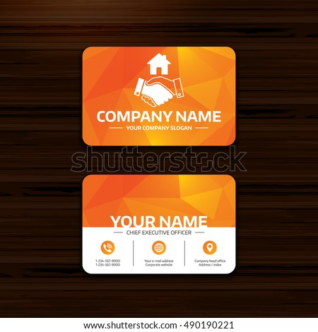 Business or visiting card template. Home handshake sign icon. Successful business with house building symbol. Phone, globe and pointer icons. Vector