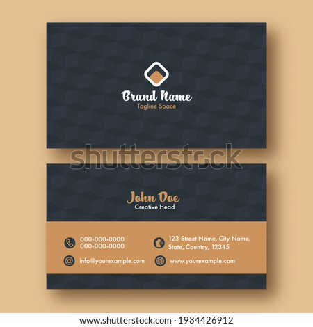 Business Or Visiting Card With Cube Pattern In Grey And Brown Color.