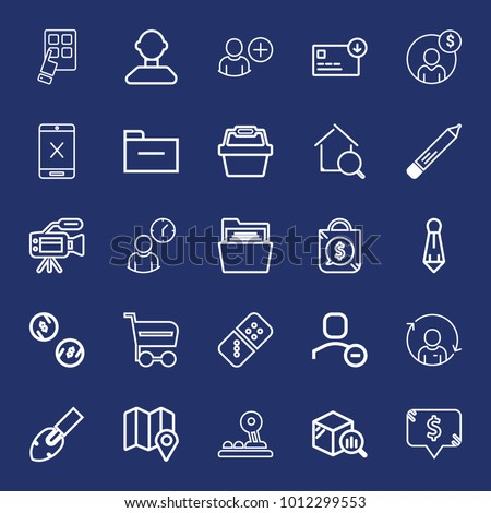 Business outline vector icon set on navy background #1012299553