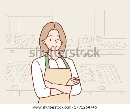 business owner with bakery shop background. Hand drawn style vector design illustrations.