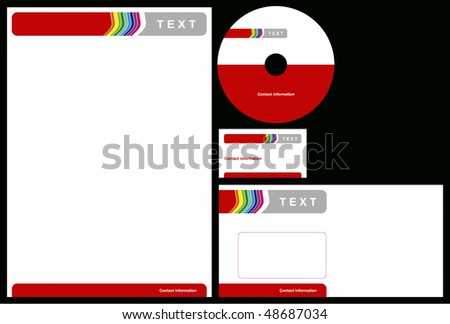 Business package with business card, letterhead, envelope and cd. - stock vector