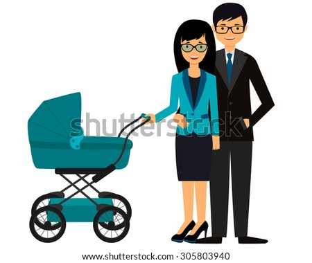 business parents with pram