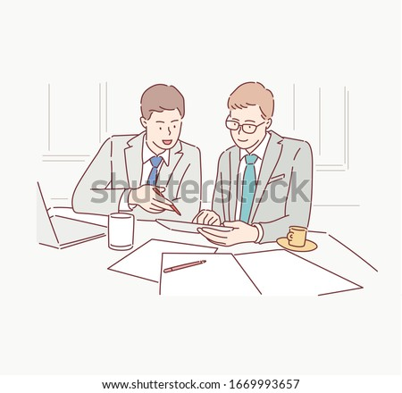 business partners discussing documents and ideas at meeting. Hand drawn style vector design illustrations.