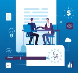 Business partnership. Businessmen investors handshaking with agreement. Finance relationship, investment cooperation vector concept. Illustration of businessman agreement, partnership deal contract