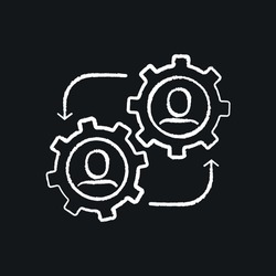 Business partnership chalk icon. Synergy, teamwork, collaboration, research, meeting. Thin line vector black and white illustration.