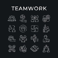 Business partnership chalk icons set. Synergy, teamwork, collaboration, research, meeting. Thin line vector black and white illustration.